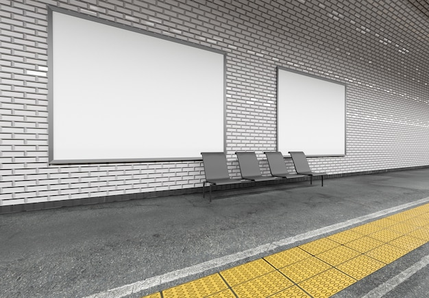N地下鉄ビルボード広告 -  3 dレンダリング