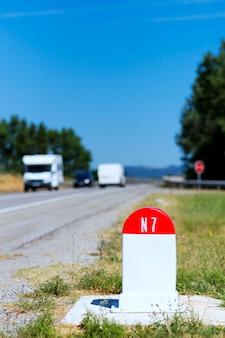 N7 road milestone in france