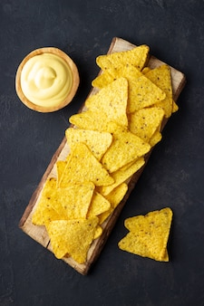 Nachos chips with cheese sauce