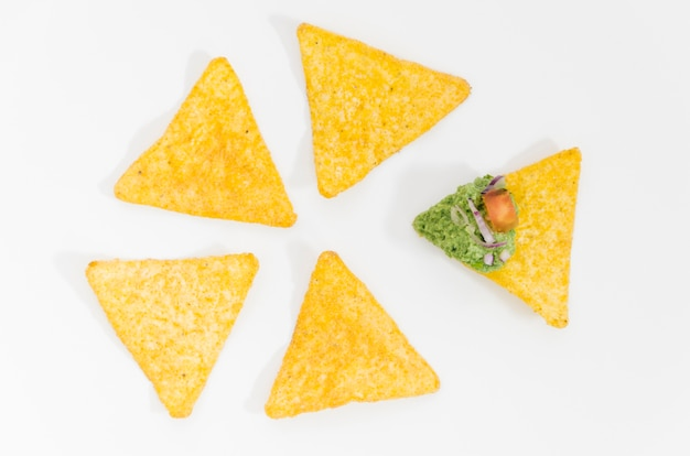 Nachos and guacamole dip sauce