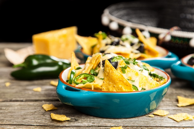 Nachos with melted cheese