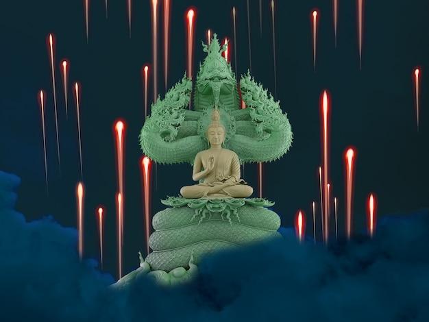 Naga fire balls, buddha protected by hood of mythical king naga on the night sky