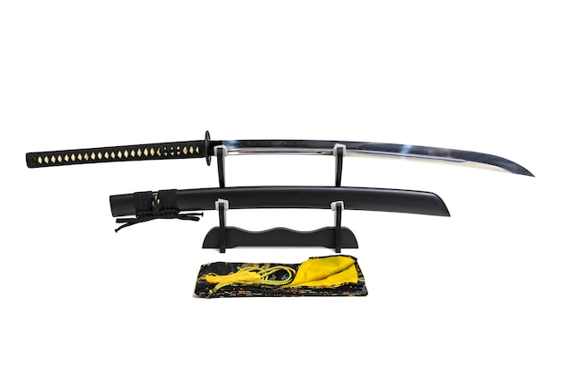 Nagamaki, long grip japanese sword with black scabbard on wooden stand and silk bag