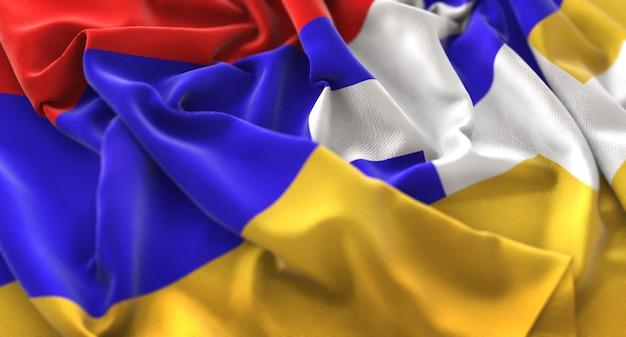 Nagorno-karabakh republic flag ruffled beautifully waving macro close-up shot
