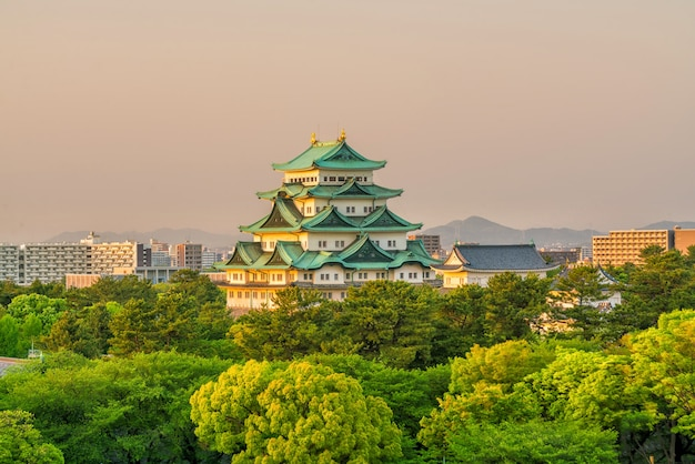 Nagoya castle and city skyline in japan at sunset