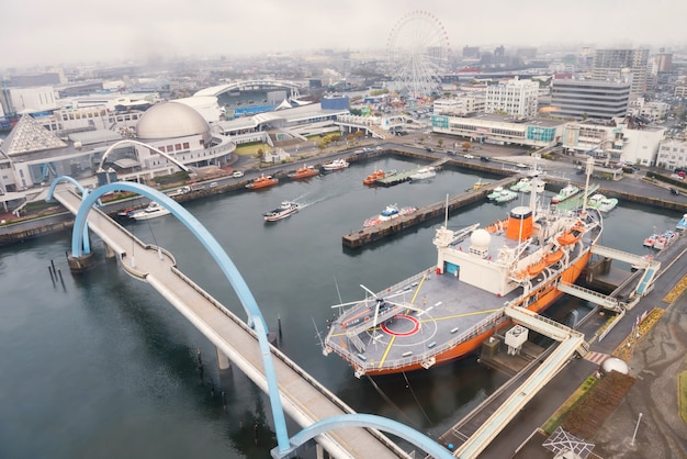 Nagoya port by top view, japan