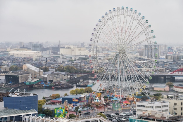 Nagoya port top view with ferris wheel