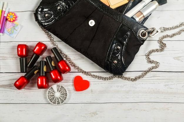Nail make-up notebook bag mirror cosmetics makeup bag woman lady stuff