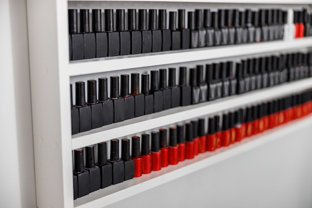 Nail polish bottles at beauty salon