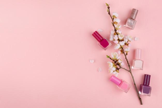 Nail polish on a pink