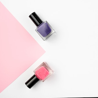 Nail polish set with copy space