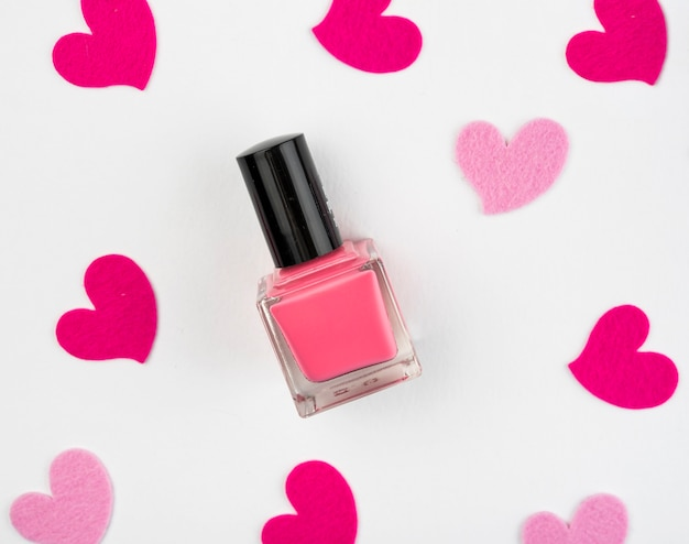 Nail polish with hearts