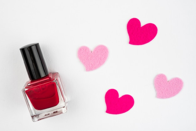 Nail varnish with hearts