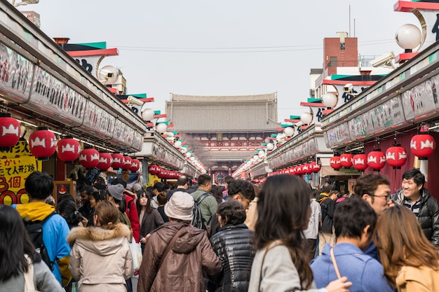 Nakamise shopping street in asakusa and sensoji temple with crowd people visitting to senso-ji