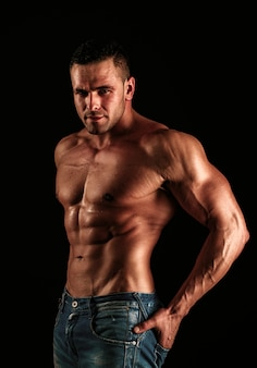 Naked guy in denim jeans nude male torso sexy muscular man topless muscular fitnes model sexy naked ...