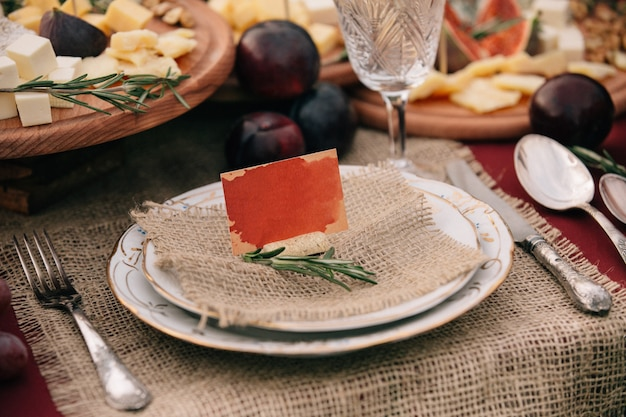 Name card on plate during christmas set up table