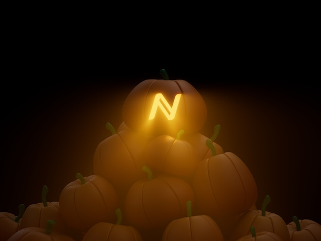 이름 새겨진 호박 스택 더미 암호화 통화 3d 그림 렌더링 어두운 조명