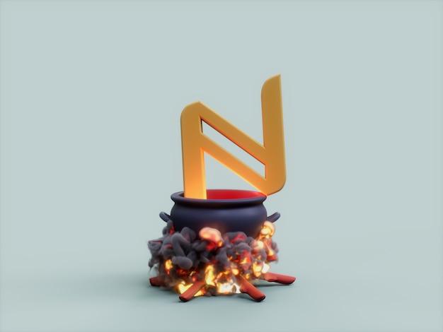 이름 가마솥 화재 요리사 암호화 통화 3d 그림 렌더링