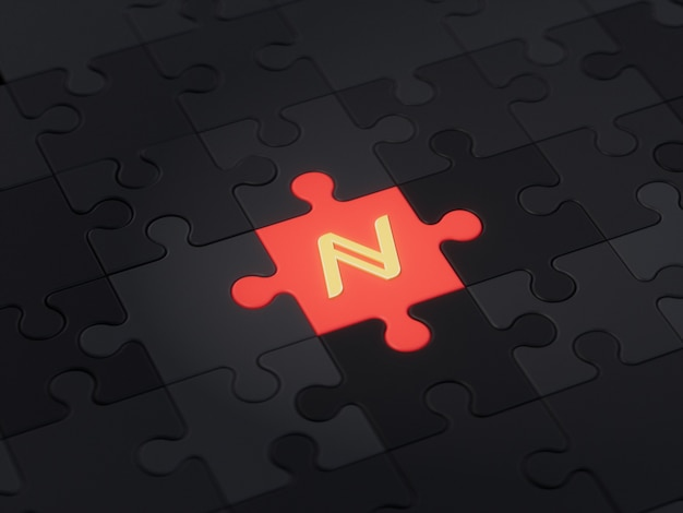 Name different unique jigsaw puzzle piece crypto currency 3d illustration concept render