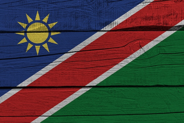 Namibia flag painted on old wood plank