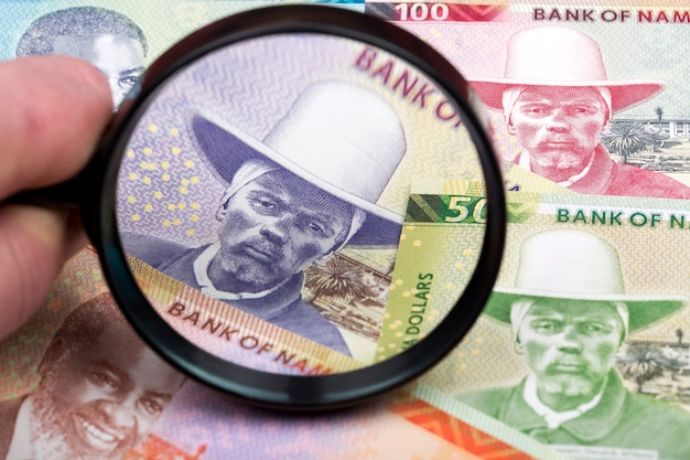 Namibian money in a magnifying glass