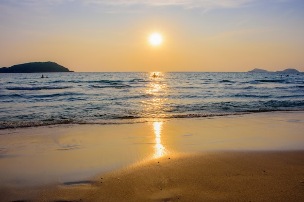 Nang ram beach in thailand, sea and island in the evening.