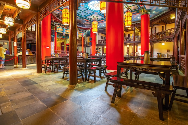Nanjing, china - july 16, 2018: the traditional architectural night view of nanjing teahouse is wher