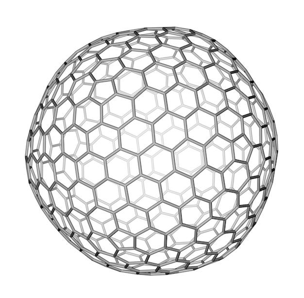 白い背景の上のナノクラスターフラーレンc540分子構造