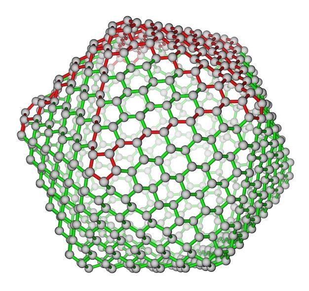 白い背景の上のナノクラスターフラーレンc720分子構造