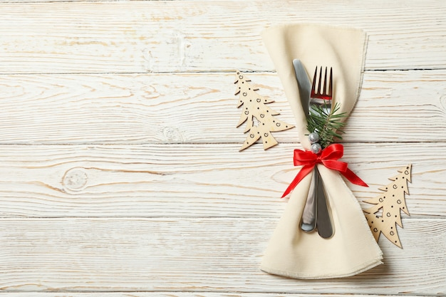Napkin with new year cutlery