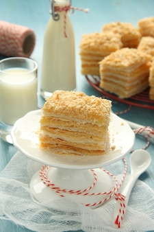 Napoleon cake, layer cake from  puff pastry with custard cream