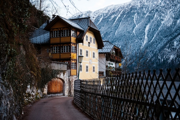 Narrow asphalt road passes near wooden austrian houses on riverside