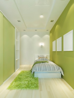 Narrow children's room in a modern style with a bed and a wardrobe in light green colors. 3d render.