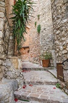 トゥレットシュールルーの古い村にある花のある狭い石畳の通り