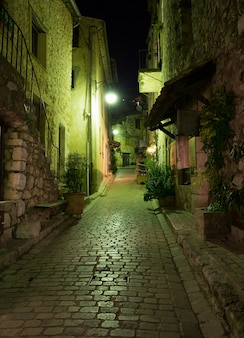 Narrow cobbled street with flowers in the old village at night, france.