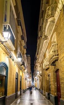 カディスの旧市街の狭い通り-スペイン、アンダルシア