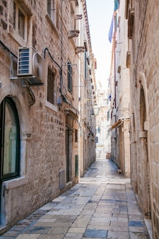 Narrow street inside dubrovnik old town, croatia