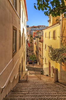 Narrow street of lisbon district in portugal