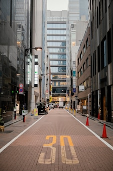 Narrow street and tall buildings