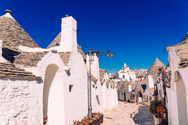 Narrow streets between the trulli of alberobello