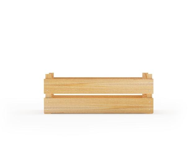 Узкий деревянный ящик на белом