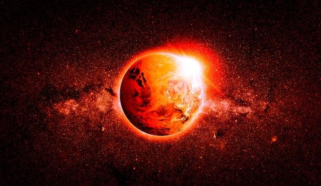 地球温暖化。 nasaから提供されたこの画像の要素。