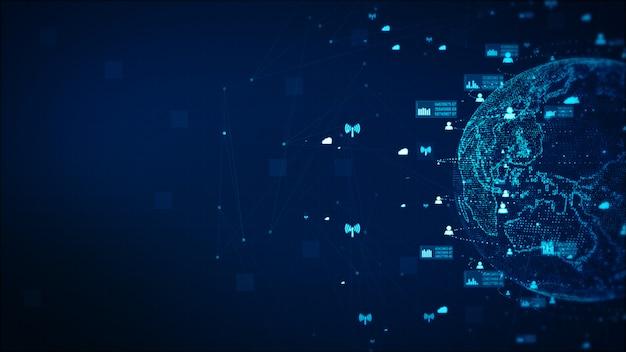 デジタル技術ネットワークデータと通信の概念の抽象的な背景。 nasaが提供する地球の要素