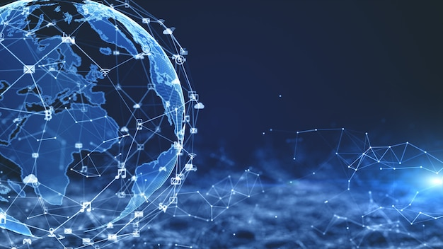 技術ネットワークデータ接続、デジタルネットワーク、サイバーセキュリティの概念。 nasaから提供された地球要素。