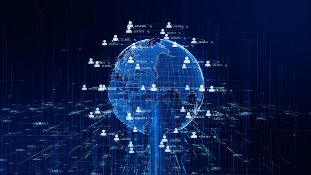技術ネットワークデータ接続、デジタルデータネットワーク、サイバーセキュリティの概念。 nasaから提供された地球要素。