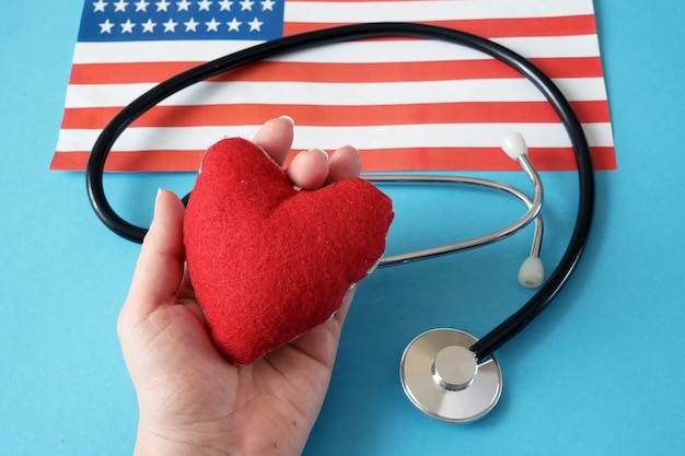 National american flag and heart symbol on blue