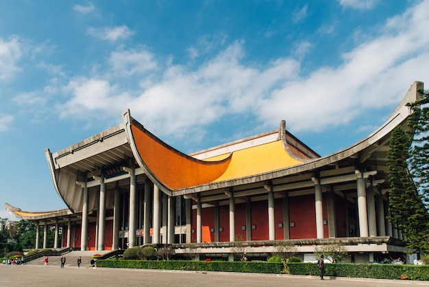 The national dr. sun yat-sen memorial hall with blue sky and cloud in taipei, taiwan.