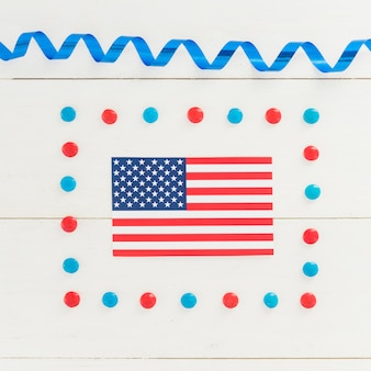 National flag of america in holiday decoration