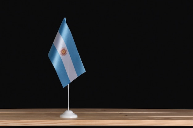 National flag of argentina on a table