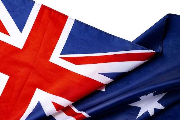 National flag of australia, fabric textile background close up